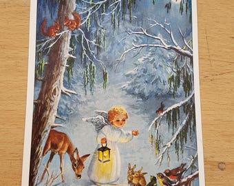 Vintage Hannes Peterson Christmas, festive angel postcard