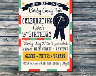 County Fair Birthday Party Invitation - Custom Invitation - Printable Invitation