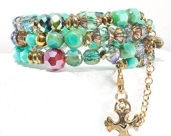 Layered Chain Link® handmade Wrap Bracelet, Czech Glass + Pyrite