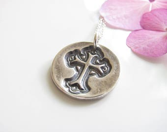 Cross Necklace - Hand Made from Fine Silver - Sterling Chain - Ready to Ship - Silver Jewelry - Religious - Cross imprint on Round Disk