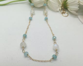 Moonstone, Chalcedony, and 14 Karat Gold Chain Necklace