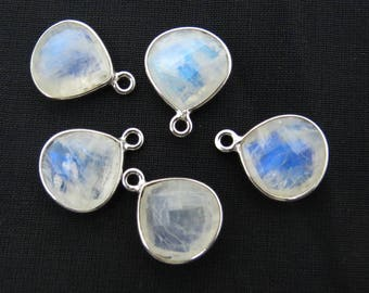 5 Pieces Rainbow Moonstone Gem stone 925 Sterling Silver Connectors Earring, Dangle Rhodium Polished