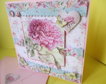 Card 3 D (embossed) Roses and butterflies