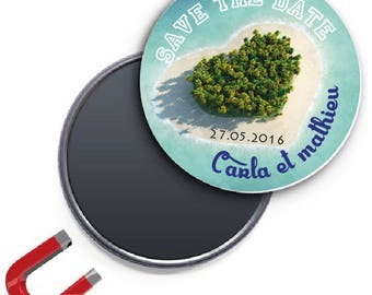 Badge Fridge Magnet personalized save the date heart island