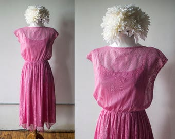 Vintage 1970s Pink Lace Fit and Flare Dress