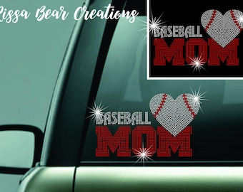 Baseball Mom rhinestone car decal