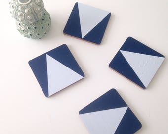 Navy and Sky Wooden, coasters, drinking and dining accessory.