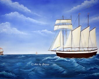 Ship Painting Art Print, Oil on canvas, Realistic paintings, Living Room decor, light house