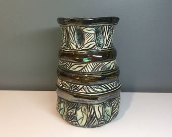 Leafy Sculptural Vase with Bronze Banding