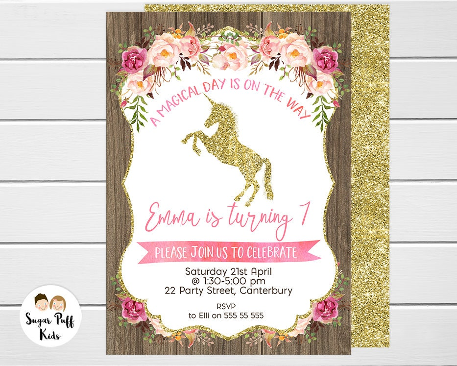 Gold Unicorn Birthday Invitation, Magical Unicorn Birthday ...