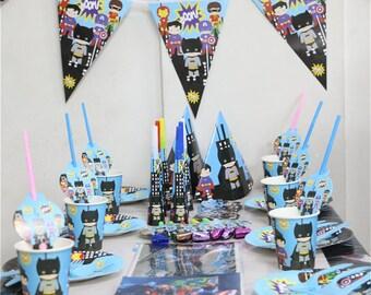 243 Piece Childrens Super Hero Party Kit