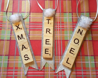 Scrabble Tile Christmas Tree Decorations Set of Three
