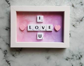 I Love U Scrabble Art Picture, White Frame 6x4, Wall Art, Scrabble Tiles , Ready To Ship Valentines Gift