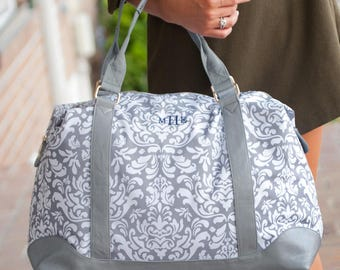 Bridesmaid Gift,Bridesmaid Tote,Girl Travel Bag,Ladies Travel Bag,Weekender,Grey Damask Bag,Monogrammed Travel Bag,Ladies Tote,Overnight Bag