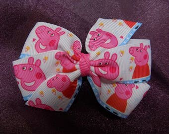 Lovable Cheeky Peppa Pig Hair Bow - Character hair bow, Girl's hair bow, Hair bow for girl, Birthday gift, Hair accessory, Toddler hair bow