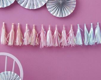 Iridescent Tassel Garland, Rainbow Tassel Garland, Birthday Party Decor, Baby Shower Decor