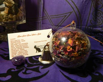 Home Sweet Home Witch's Ball Ornament - Hoodoo, Witchcraft, Luck, Money, Protection, Peace