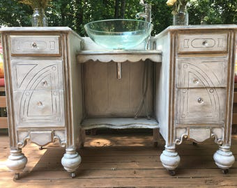 Victorian Sink, shabby chic,bathroom sink cabinet, vintage, antique ,repurposed, refinished, country, cottage, farmhouse