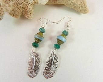 Silver earrings Silver earrings, green blue - green charm Czech glass beads feather Bohemian style woman