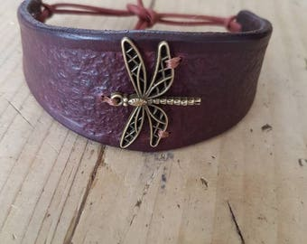 Handmade leather cuff bracelet with dragonfly