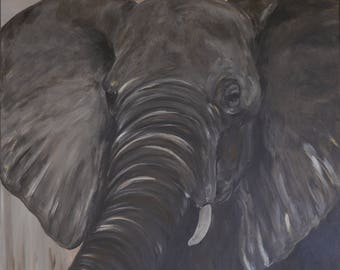 painting on canvas, elephant close-up