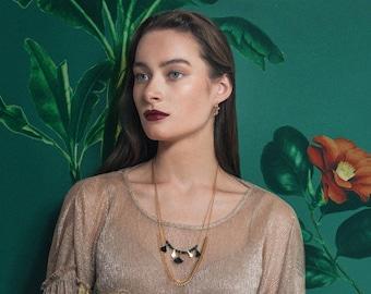 Travel handmade tassels and semi-precious stones necklace