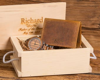 Personalized Watch and Monogram Leather Wallet, Anniversary, Wedding, Retirement, Graduation, Fathers Day, Christmas, Groom Gift WSOO1&ZB32
