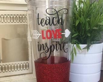 Teach Love Inspire 32 oz Glitter Acrylic Tumbler