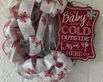 Baby its cold outside wreath on grapevine frame silver and red with snowflakes