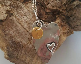 Love heart pendant with initial