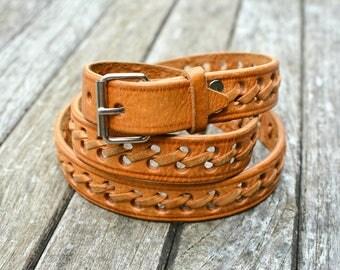 Ladies Leather Belt - Vintage Leather Belt - Hipster Belt - Leather Belt - Vintage Belt - Size 28-1/2 belt - Size 30 belt