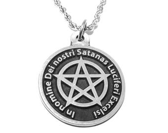 Black MASS Occult Satanic Lucifer Seal & Sign of Satan Pendant with Chain