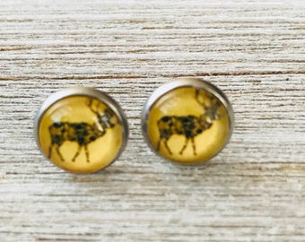 Deer Stainless Steel Post Earrings