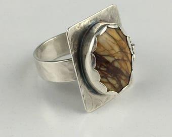 Red Creek Jasper Sterling Silver Ring. Size 7