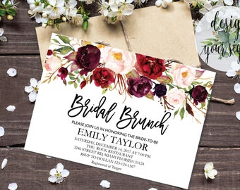 Bridal Brunch Invitation, Watercolor bridal invite, Floral Bridal Shower Card, Instant Digital Download File, Flower Bride DIY, Brunch 07