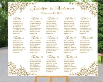PRINTABLE calligraphy Wedding Seating Chart , Custom Boho Floral Wedding Table seating assignment, table plans, Find Your Seat SC056