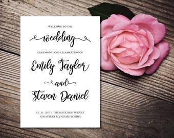 Wedding ceremony program template, Ceremony wedding program, Wedding program fan, Wedding ceremony editable text, INSTANT DOWNLOAD MS Word