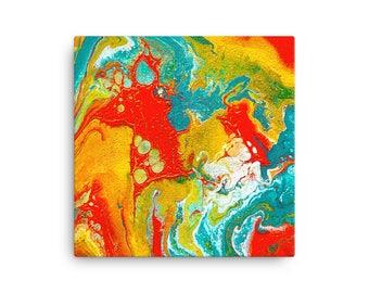 Canvas Print, Kunst print, Abstract schilderij, acryl op canvas, kunst aan de muur, kleurrijk schilderij, fluid painting