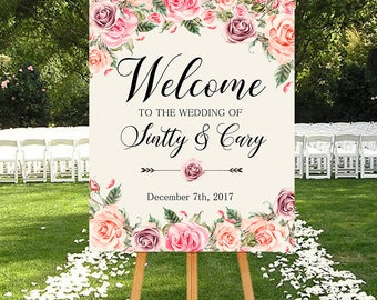 Wedding Welcome Sign Blush Pink Roses Floral Boho Digital Wedding Reception Sign Bridal Wedding Welcome Poster WS-032
