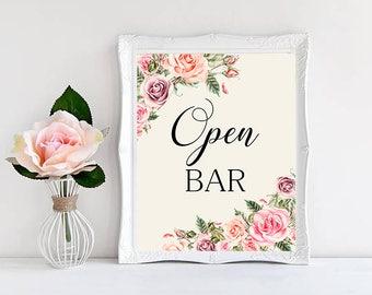 Open bar Wedding Sign Digital Floral Blush pink Peach Wedding Boho Printable Bridal Decor Gifts Poster Sign 5x7 and 8x10 - WS-032