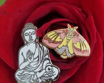Set of 2 Hard Enamel Lapel Pins, Buddha and Rosy Maple Moth, Insects, Namaste