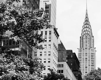 New York Wall Art, Chrysler Building Photo Print, NYC Chrysler Photography, New York Skyline Print, Black White New York