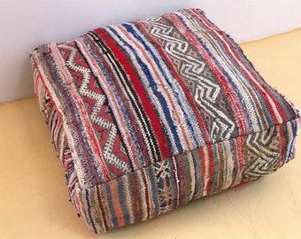 Vintage Moroccan Kilim Pouf floor cushion