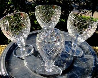 """Webb Corbett-""""Georgian"""" pattern-Set of 4-Water Glasses-MINT-4.5 inches tall-Circa 1941"""