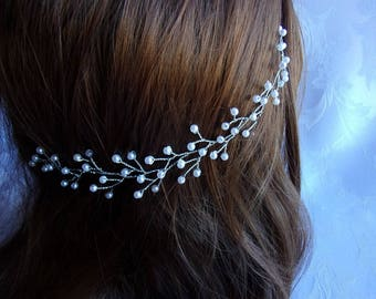 Hair vine for simple wedding beads/bride/Crown hair headband with white and silver beads