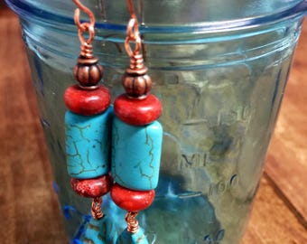 """Southwestern Style Turquoise Howlite, Red Spong Coral Dangle Earrings on Solid Copper,   2 3/4"""" Long"""
