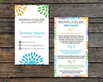Rodan and Fields Mini Facial Card, Rodan and Fields Give It A Glow, Fast Personalized, Rodan and Fields Business Cards, RF11