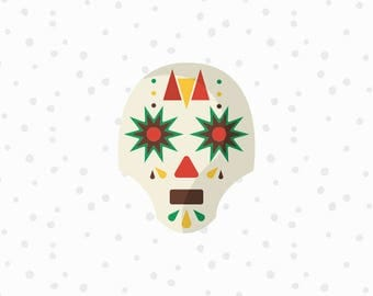 Mexican Sugar Skull SVG Cut File - Skull Cut File - Mexican Skull Clipart - Dia De Los Muertos SVG - Cricut Cut Files - Silhouette Cut Files
