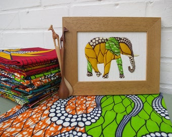 Elephant - Handmade picture with African fabrics