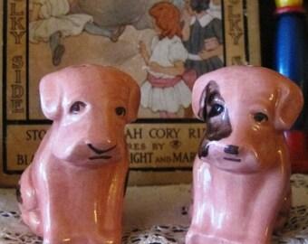 Art Deco pink scottie dog figurines 1940s